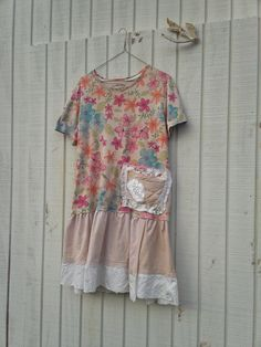 large / plus - oversized Funky Eco Dress / Upcycled Striped Dress / Tattered Dress  / eco T-Shirt Dress / Romantic Dress by CreoleSha. $67.99, via Etsy.
