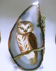 hand painted Owl on Agate