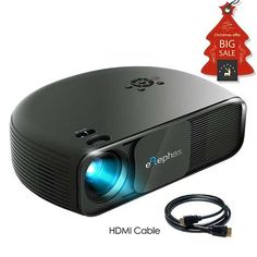 7.best projector under 200: ELEPHAS 1080P HD LED Movie Projector, with 3500 Luminous Efficiency LCD Video Projector Support HDMI USB VGA Amazon Fire TV Smartphone Ideal for Office Home Cinema Entertainment Games Party