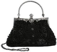 Exquisite Seed Bead Sequined Leaf Evening Handbag, Clasp Purse Clutch w/Hidden Handle #handbag #amazon