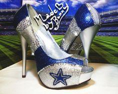 dallas cowboys high heels shoes | Dallas Cowboys NFL Football Glitter Sports Heels