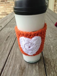 Crocheted Texas Longhorns Coffee Mug Cozy Orange & by TheHookster