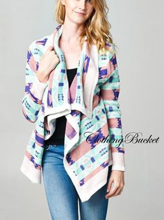 Blue Mint Pink Taupe Aztec Tribal Open Asymmetrical Draped Cardigan NWT #ClothingBucket #Cardigan #asymmetrical #asymmetricalcardigan #fall #fall2014 #mintcardigan #mintpurple #opencardigan #mintaztec #aztec #tribalcardigan #tribal #tribalprint #knitcardigan #knitwear