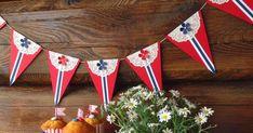 Har laget litt 17. mai-pynt, med enkle midler...   Rød, hvit og blå Bazzill-kartong,   små kakeservietter, en blomsterpunch og et par LID-...