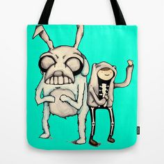 Time Travel Time Donnie Darko Adventure Time Frank The Bunny watercolor Tote Bag by Justin 13 Art - $22.00