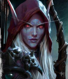 Sylvanas Windrunner (World of Warcraft Legion concept art) World Of Warcraft Legion, World Of Warcraft Characters, Banshee Queen, Sylvanas Windrunner, Female Demons, Warcraft Art, Night Elf, Dark Elf, Wow Art