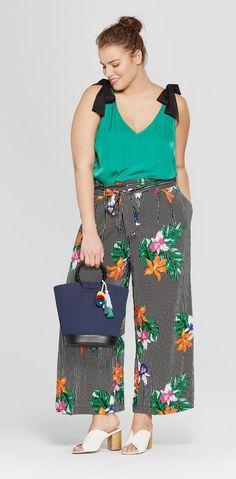 Plus Size Paperbag Crop Pants #plussize