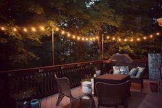 Stunning Outdoor patio Deck Lighting Ideas For Small Backyard Outdoor Deck Lighting, Solar Deck Lights, String Lights Outdoor, Landscape Lighting, Outdoor Decor, Rustic Outdoor, Dock Lighting, String Lighting, Club Lighting