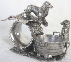 Antique/Vtg Figural Dog Dachshund Doxen Napkin Ring Holder~Open Salt Silver  Plat