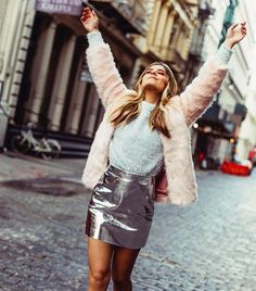 Blogger Approval: 19 H&M Pieces Fashion Bloggers are Loving. From vinyl skirts, chunky knits, belt bags and this seasons must have coats and shoes. Beautiful Outfits, Cute Outfits, Beautiful Clothes, Vinyl Skirting, Pink Trousers, Hipster, Metallic Skirt, Punk, Red Cardigan