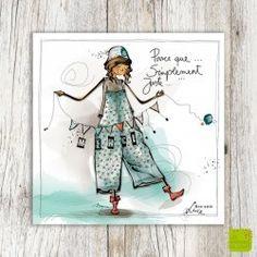"""Carte de remerciements """"uste merci"""" illustrée par Myra Vienne"""