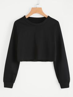 SheIn offers Basic Pullover Crop Swe - Sweat Shirt - Ideas of Sweat Shirt - Shop Basic Pullover Crop Sweatshirt online. SheIn offers Basic Pullover Crop Sweatshirt & more to fit your fashionable needs. Teen Fashion Outfits, Girls Fashion Clothes, Mode Outfits, Emo Fashion, Ladies Fashion, Fashion Styles, Fashion Dresses, Cute Crop Tops, Black Crop Tops