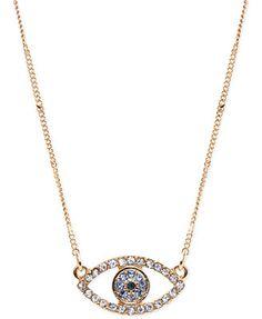 RACHEL Rachel Roy Gold-Tone Pavé Evil Eye Open Pendant Necklace