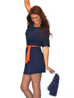 2tee Couture Gameday Jersey Dress with Contrast Belt - Auburn Gameday!