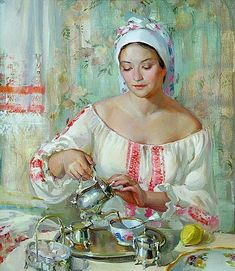 Tea time This is a beautiful painting or illustration. Its a reminder to take time out for yourself!