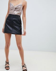 66f023f66c689 DESIGN wrap leather look mini skirt with belt and detachable chain ...