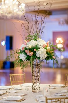 Pink and Green Arrangement With Curly Willow   photography by http://www.brookeimages.com/