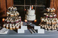 Wedding cupcake towers and simple white wedding cake