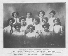 a newspaper clipping of all female clerks Mutual Life Insurance, Life Insurance Companies, Central University, University Of North Carolina, Kimberly Moore, Vintage Clothing, Vintage Outfits, Black History Facts, Economic Development