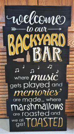 Backyard Signs, Patio Signs, Backyard Bar, Pool Signs, Outdoor Signs, Backyard Kitchen, Outdoor Games, Custom Wood Signs, Rustic Signs