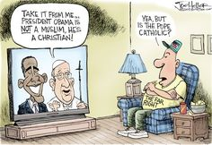 Pope and Obama © Joe Heller,Green Bay Press-Gazette