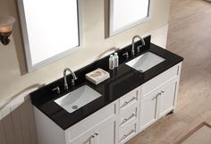 Give your bathroom décor a makeover with a modern bathroom vanity from Ariel Bath. The Hamlet series offers granite or quartz countertops mounted above solid wood cabinets. With satin nickel finish ha