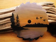Acrylic Painting on Saw Blade Migrating Geese by EverWildStudios