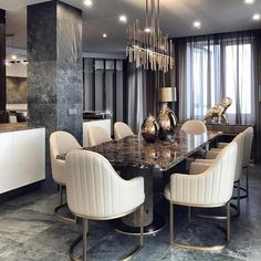 47 Trendy Dining Room Designs Ideas You Cant Miss Out - When considering dining room design in your home, you primarily have the décor and furniture to consider. These factors will largely be influenced by . Elegant Dining Room, Luxury Dining Room, Dining Room Sets, Dining Room Furniture, Dining Tables, Furniture Sets, Table Design, Dining Room Design, Luxury Home Decor