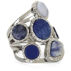 BCBGMAXAZRIA Hammered Multi-Natural Stone Ring ($39) ❤ liked on Polyvore featuring jewelry, rings, accessories, blue stone combo, bezel set ring, hammered jewelry, natural stone rings, blue jewelry and blue rings