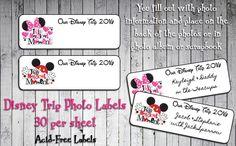 Personalized DISNEY TRIP Photo Labels, Disney Vacation Photo Scrapbook Labels
