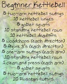 People have asked me to do kettlebell workouts before, but until now, Id never had a chance to try them out! Well, my new gym has a full set of kettlebells, so I experimented the other day. Heres a beginner workout using only one kettlebell! As you get used to the kettlebell and you get stronger, try to repeat the workout.