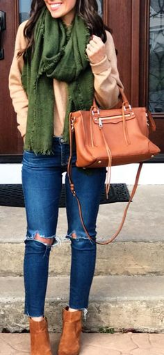 #winter #fashion /  Green Scarf + Camel Leather Tote Bag + Destroyed Skinny Jeans