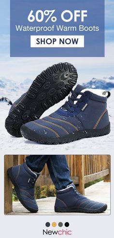 e80e32a1162b94 Large Size Men s Stripe Waterproof Plush Lining Stripe Ankle Boots  boots   menswear  outdoor
