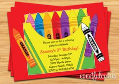Crayon Birthday Party Invitation for Kids. $14.99, via Etsy.