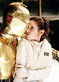 """fycarriefisher: """" Carrie Fisher and Anthony Daniels as C-3PO on the set of Star Wars: Episode V - The Empire Strikes Back. """""""