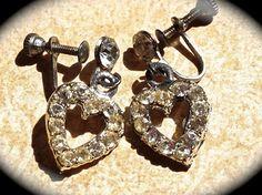 #Vintage Earrings-Heart shaped- #Rhinestone screw back earrings - Wedding Dangle Earrings- Vintage Rhinestone Earrings- JNP Vintage #Jewelry    These adorable vintage heart sh... #jewelry #vintage #christmas #gifts #etsy #rhinestone