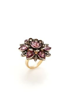 Pink Spinel & Diamond Floral Ring by Aishwarya at Gilt Bold Rings, Pink Ring, Champagne Diamond, Bracelets, Necklaces, Statement Rings, Fine Jewelry, Gems, Bling