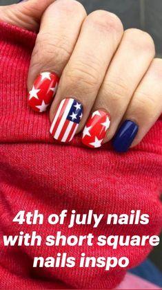 Blue Acrylic Nails, Red Nails, White Nails, Short Square Nails, Short Nails, Spring Nails, Summer Nails, Royal Blue Nails, Patriotic Nails