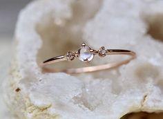 14k Moonstone Ring Diamond Moonstone Ring Diamond Ring