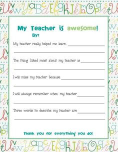 End of Year Teacher Card...send this to all the kids to fill out before school is out and bind/laminate into a booklet for the teacher