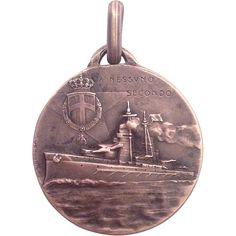 "c.1900 Italian Battleship ""Second to None"" Sterling Silver Medal"