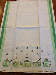 Vintage Cotton Tea Kitchen Towel with Green Teapots by kchoos, $12.00
