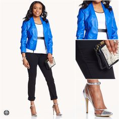 Sporty Fashion goes luxe with this Giuliana Rancic blue leather jacket!