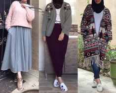 Which outfit's your favorite? Frock Fashion, Abaya Fashion, Muslim Fashion, Fashion Outfits, Modern Hijab Fashion, Street Hijab Fashion, Casual Hijab Outfit, Hijab Chic, Hijab Style Tutorial