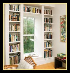 floor to ceiling bookcase | Floor to Ceiling Bookcases with windowseat. I love this idea perhaps ...