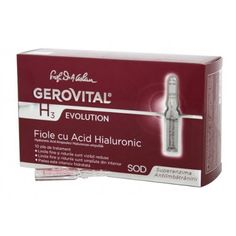 GEROVITAL H3 EVOLUTION, Hyaluronic Acid Ampoules With Superoxide Dismutase (The Anti-Aging Super-Enzyme) 30+ (10 ampoules x 2ml) (FOR EXTERNAL USE ONLY!) by GEROVITAL H3 EVOLUTION. Save 43 Off!. $39.95. FOR EXTERNAL USE ONLY!. The Pure Hyaluronic Acid has intensely moisturizing effects and a dual action, restoring the skin's water reserves and reducing trans-epidermal water loss.. The liposomes with Hyaluronic Acid get into the skin and fill out the wrinkles from the inside, significantl...