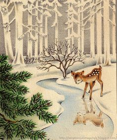 vintage deer illustration. looks like its from a christmas card.