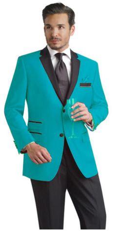SKU#FDC99 turquoise ~ Light Blue Stage Party Two Button Notch Party Suit & Tuxedo & Blazer w/ Black Lapel $250