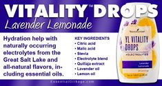 Vitality Drops - Lavender Lemonade Make your water taste great with electrolytes and oils! Lavender Lemonade, Lavender Oil, Young Living Vitality, Natural Electrolytes, Lemon Oil, Young Living Oils, Key Ingredient, Natural Flavors