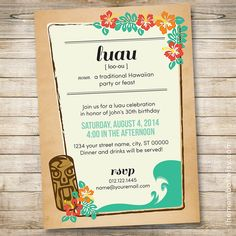Personalized luau summer party invitation on Etsy
